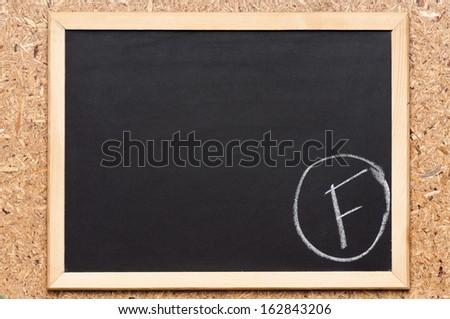 Letter F written on chalkboard, getting bad grades  - stock photo