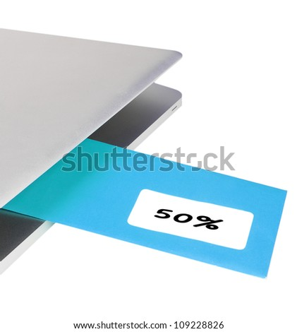 Letter 50% flying out of modern laptop - stock photo