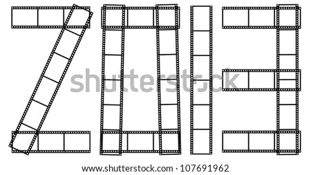 letter 2013 from a film isolated on a white background. - stock photo