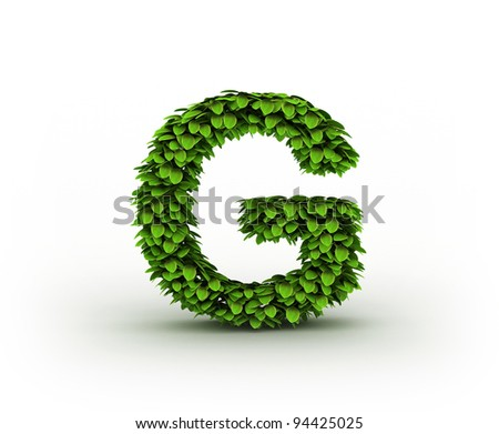 Letter  G, alphabet of green leaves isolated on white background