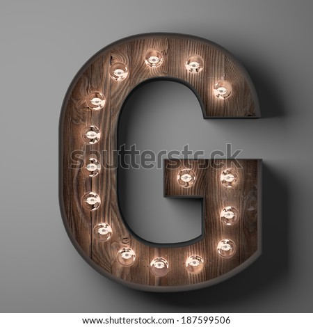 Letter G for sign with light bulbs - stock photo