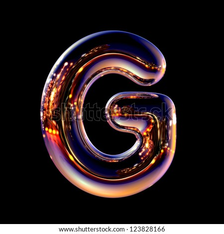 Letter G from chrome night city alphabet isolated on black - stock photo