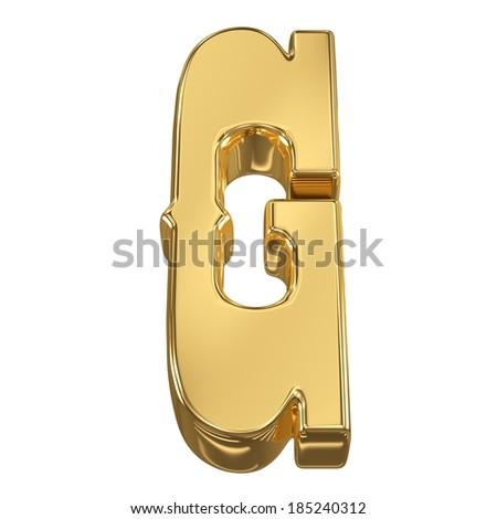 Letter G from gold solid alphabet, tilt 30 degrees, render - stock photo