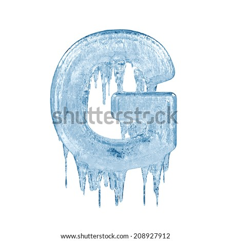 Letter G. Ice font isolated on white background. Alphabet. - stock photo