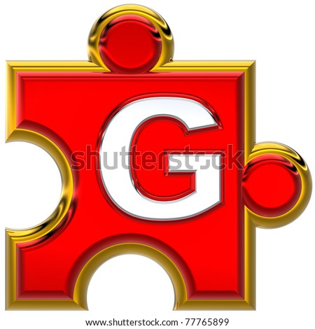 "Letter ""G"" on the red puzzle. Isolated on white background. - stock photo"