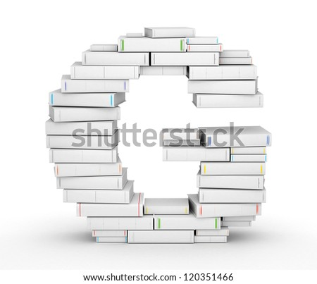 Letter G, stacked from many blank title books in column - stock photo
