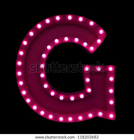letter G with neon lights isolated on black background - stock photo