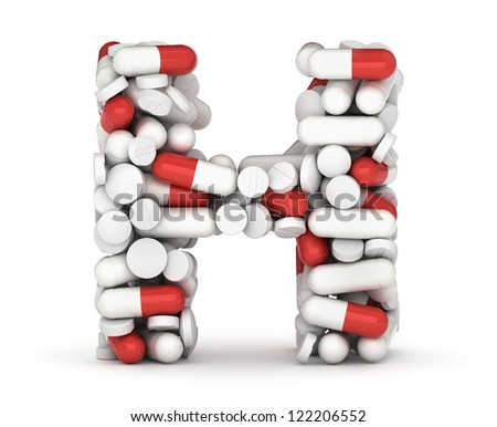 Letter H, alphabet of medicine pills - stock photo