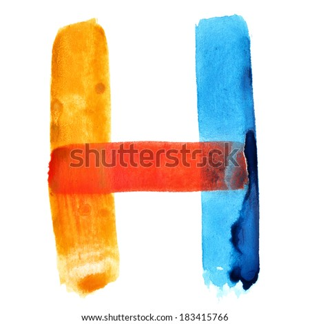 Letter H - colorful watercolor alphabet - stock photo