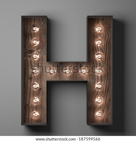 Letter H for sign with light bulbs - stock photo