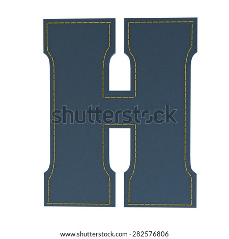 letter H from denim - jeans, on a white background, high specification of fabric, it is stitched by the yellow high-detailed threads - stock photo