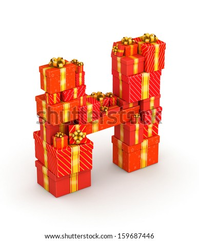 Letter H from gift boxes decorated with yellow ribbons isometry