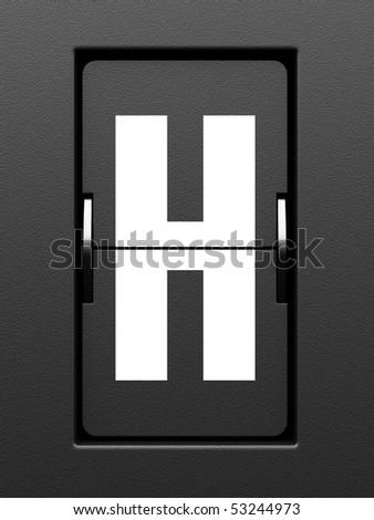Letter H from mechanical scoreboard alphabet - stock photo
