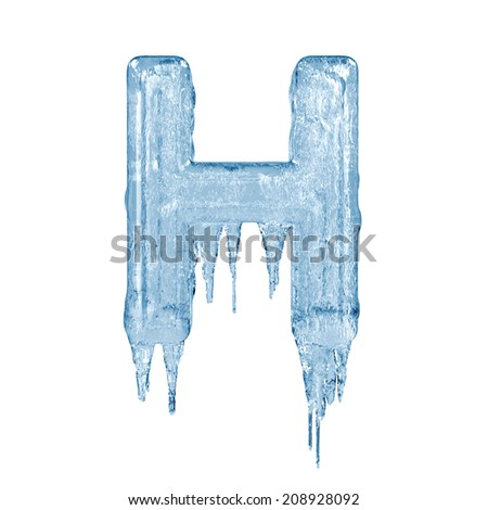 Letter H. Ice font isolated on white background. Alphabet. - stock photo