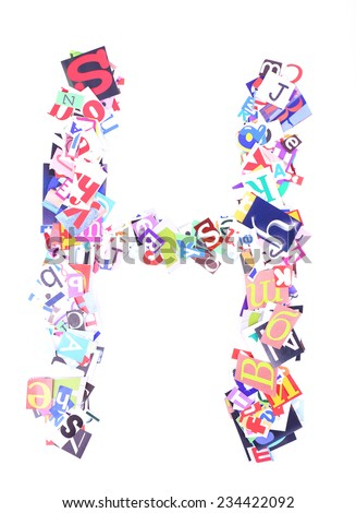 Letter H made of colorful newspaper letters isolated on white - stock photo