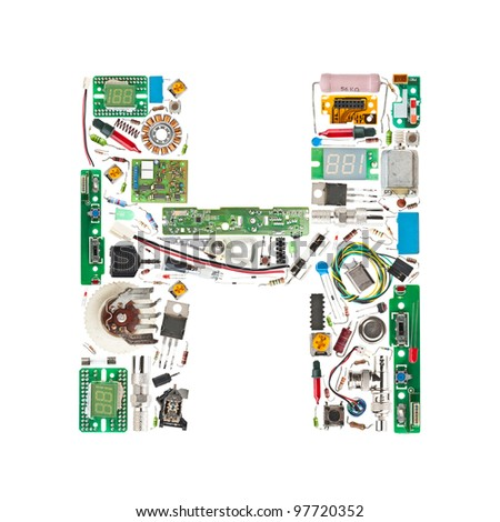 Letter 'H' made of electronic components isolated in white background - stock photo