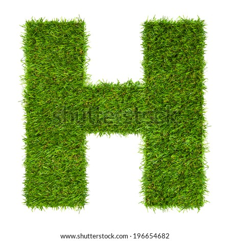 Letter H made of green grass isolated on white - stock photo
