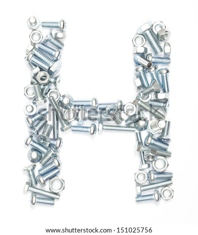 Letter H made of screws on white background