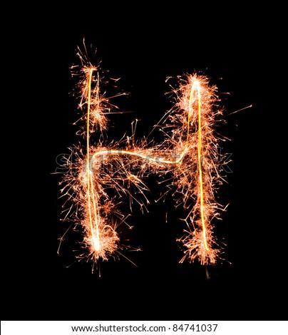 Letter H. Real sparkler alphabet - stock photo