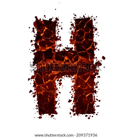 Letter H. Red burning fire alphabet isolated on white background. - stock photo