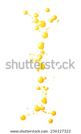 Letter I character made with the oil paint drops and spills, isolated over the white background