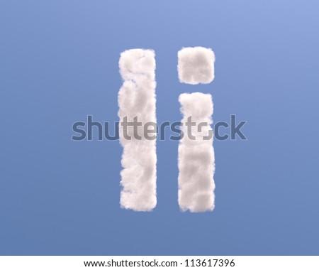 Letter I cloud shape, isolated on white background - stock photo