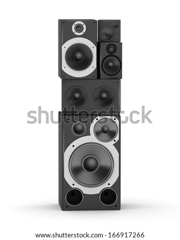 Letter I  from black hi-fi speakers sound systems - stock photo