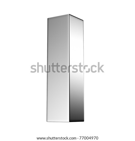Letter I from chrome solid alphabet. There is a clipping path - stock photo