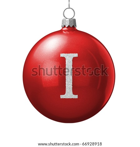 Letter I from cristmas ball alphabet. There is a clipping path - stock photo