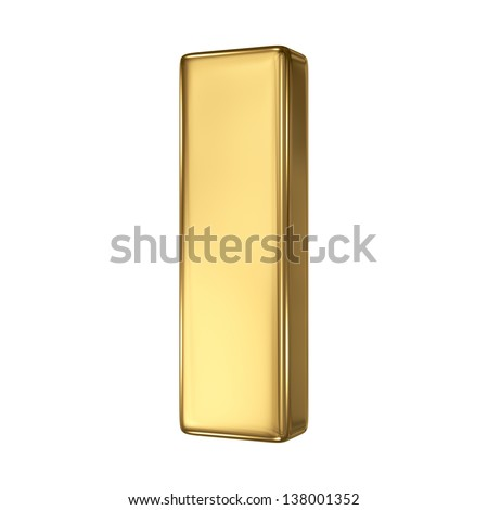 Letter I from gold solid alphabet - stock photo