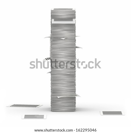 Letter I, from stacks of paper pages font - stock photo