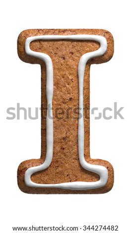 Letter I. Gingerbread font. Christmas cookies alphabet. - stock photo