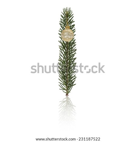 Letter I made from fir branches, decorated with christmas balls and reflection. - stock photo