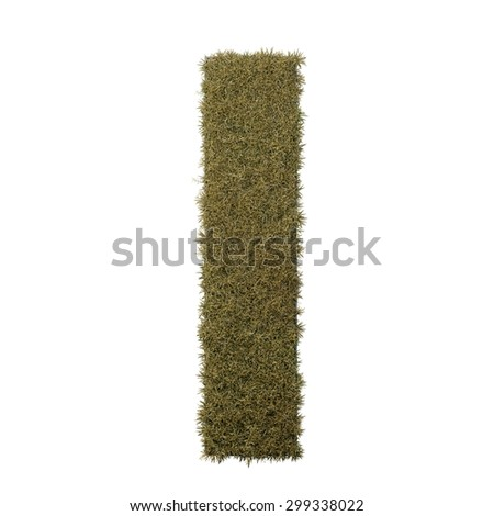 Letter I made of dead grass, growing on wood with metal frame - stock photo