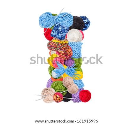 Letter I made of knitting yarn isolated on white background - stock photo