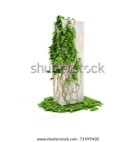 Letter I threads covered with ivy isolated on white background. - stock photo