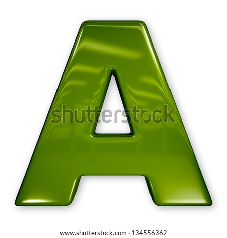 Letter in glossy green plastic material, rendered alphabet with glossy surface and reflections - stock photo