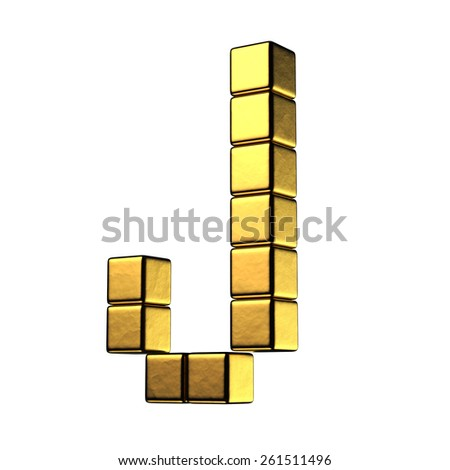 Letter J from big cube gold perspective alphabet. There is a clipping path - stock photo