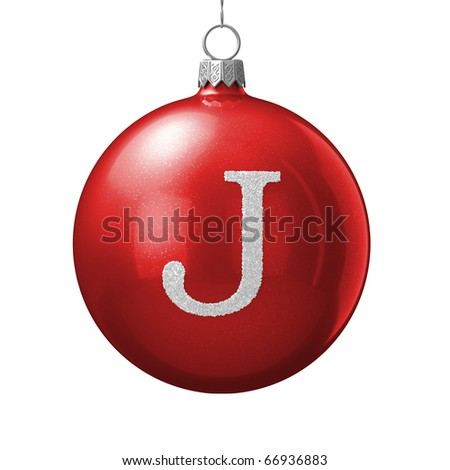 Letter J from cristmas ball alphabet. There is a clipping path - stock photo