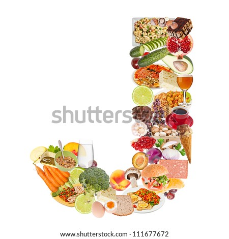 Letter J made of food isolated on white background