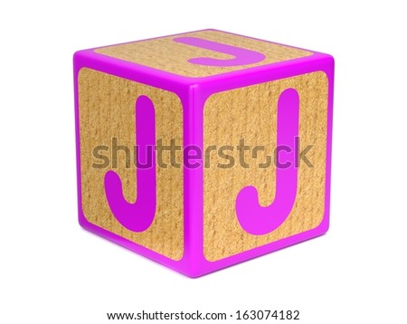 Letter J on Pink Wooden Childrens Alphabet Block  Isolated on White. Educational Concept. - stock photo