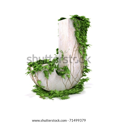 Letter J threads covered with ivy isolated on white background. - stock photo
