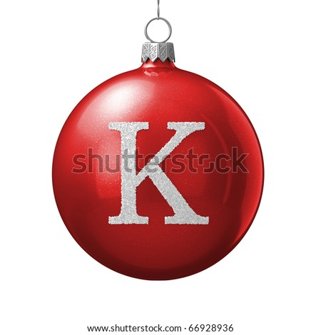 Letter K from cristmas ball alphabet. There is a clipping path - stock photo