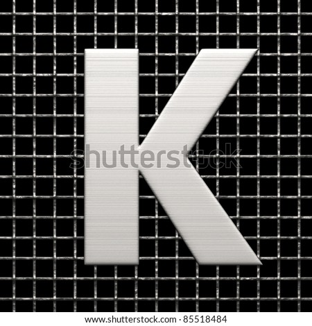 Letter K from metal net alphabet. There is a clipping path - stock photo
