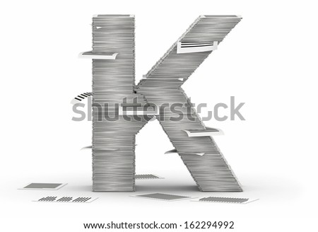 Letter K, from stacks of paper pages font - stock photo