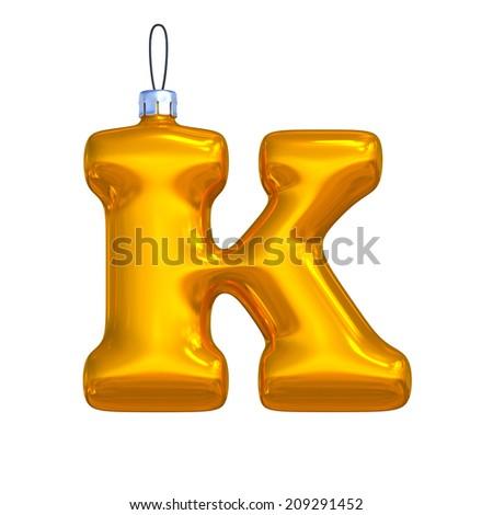 Letter K. Golden shining christmas ball. Alphabet isolated on white background. - stock photo