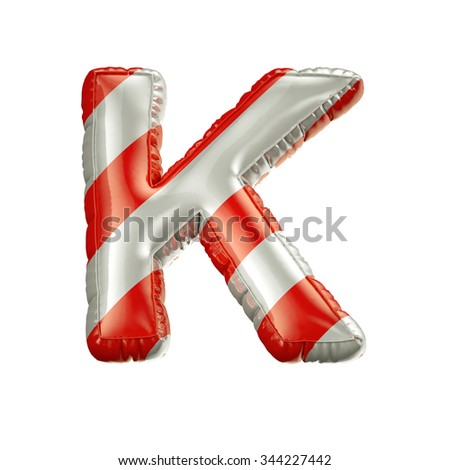 Letter K. Red and white Balloon font isolated on White Background.Birthday alphabet. - stock photo