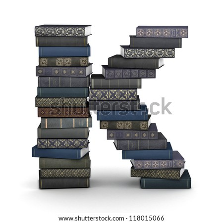 Letter K, stacked from many  books in pile - stock photo