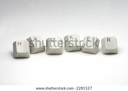 letter keys close up, concept of hacker - stock photo