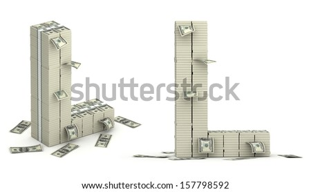 Letter L, alphabet from dollars on white background - stock photo